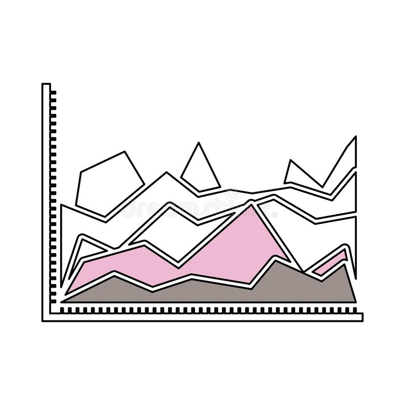 Silhouette color sections of statistical graphs in shape of peak royalty free illustration