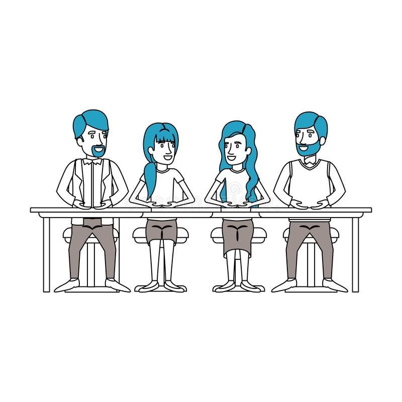 Silhouette color sections of teamwork sitting in desk and talking business people royalty free illustration