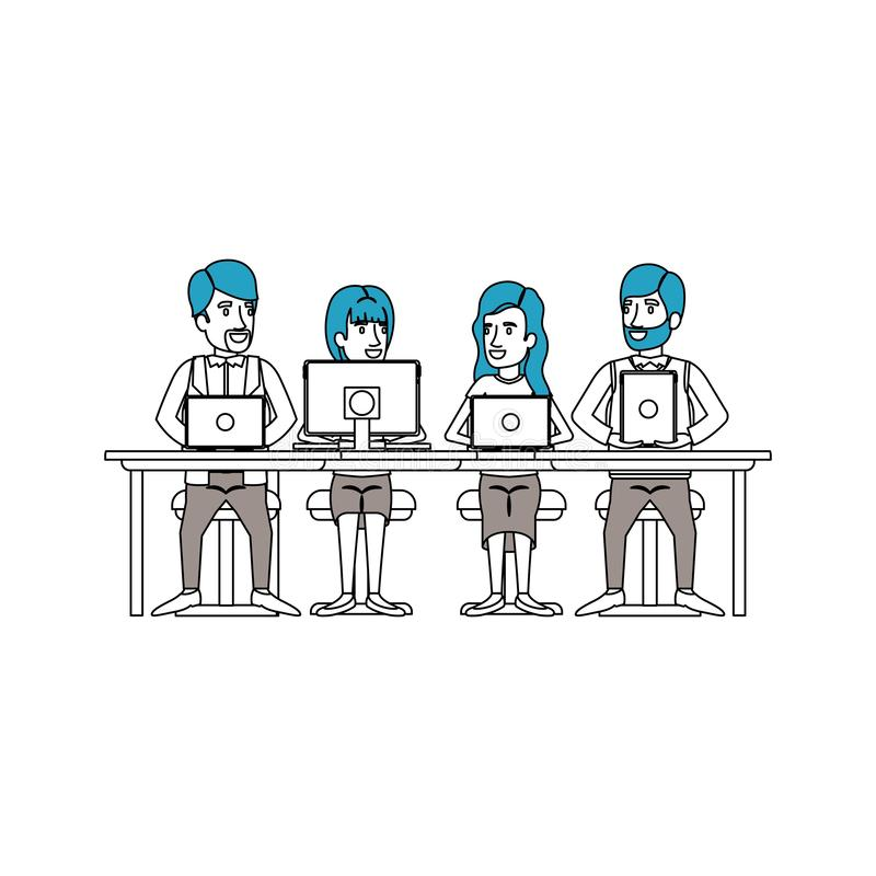 Silhouette color sections of teamwork sitting in desk with tech devices business people. Vector illustration vector illustration