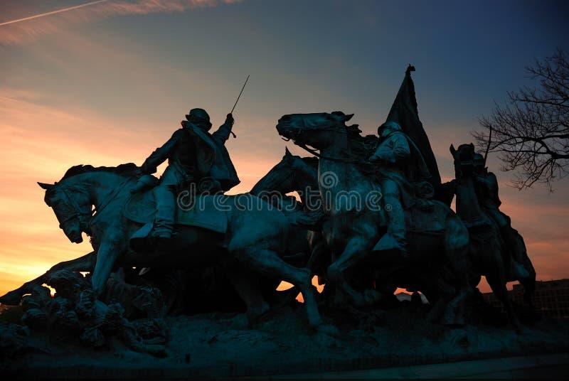 Silhouette commémorative de guerre civile, Washington DC. photos stock
