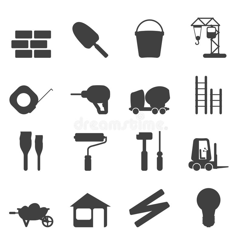 Silhouette Construction and Building Icon Set stock illustration