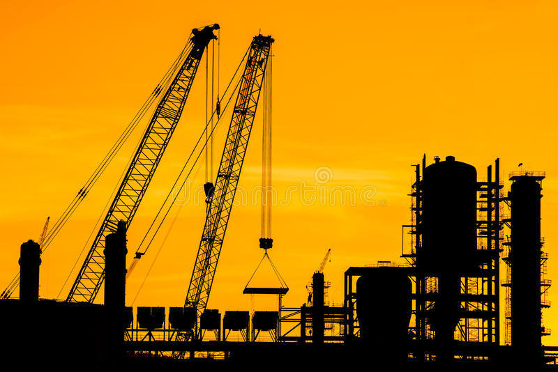 Silhouette of construction site stock images