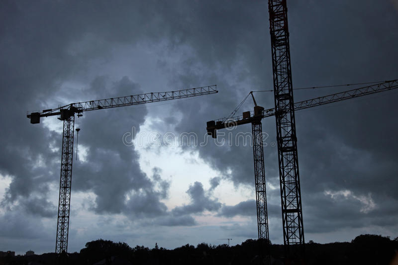 Silhouette of the construction site stock photos