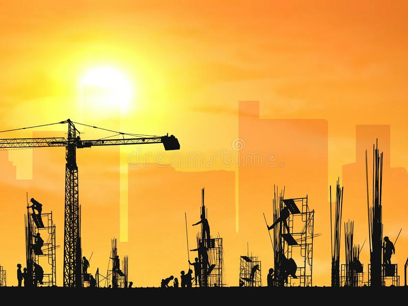 Silhouette construction workers group with crane are working to build reinforcements structure in construction site stock image