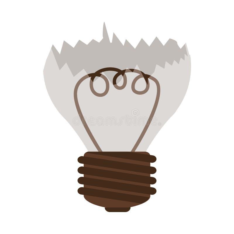 Silhouette contour broken bulb with resistence. Vector illustration stock illustration