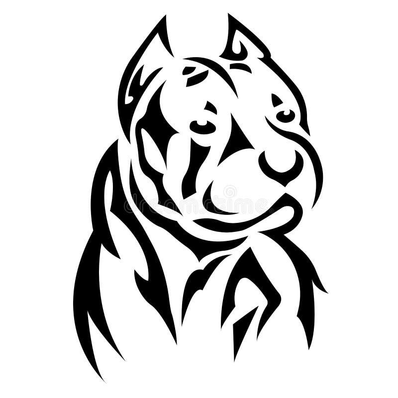 Silhouette, contour du museau du chien Race de Boxer de couleur noire sur fond blanc entourée de lignes de différentes largeurs illustration stock