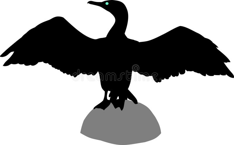 Silhouette of cormorant. Silhouette goose on white background vector illustration