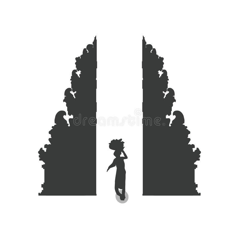 Silhouette of a country man working stock illustration