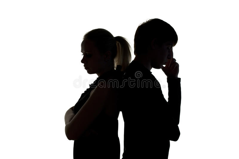 Silhouette of couple stock photos