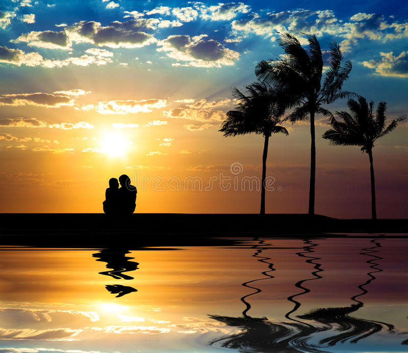 Download The silhouette of couple stock image. Image of coconut - 18095711