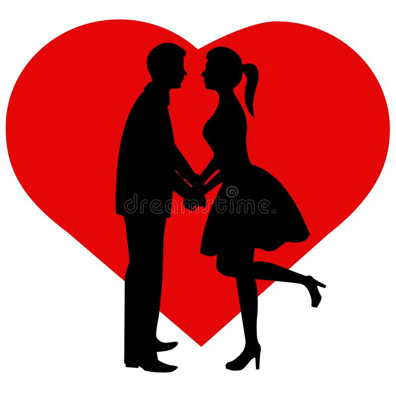 Silhouette couple. The bride and groom. stock illustration