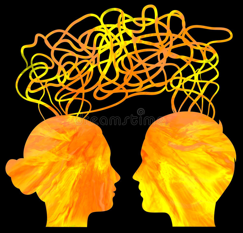 silhouette of couple heads thinking, relationship royalty free illustration
