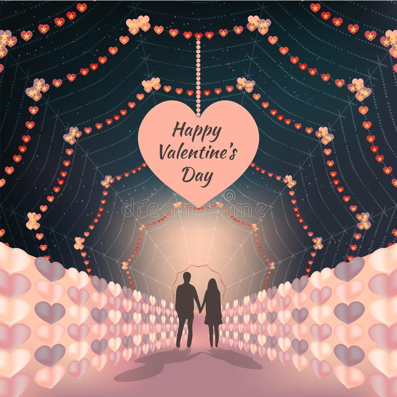 Silhouette couple holding hands on beautiful valentines days background vector illustration