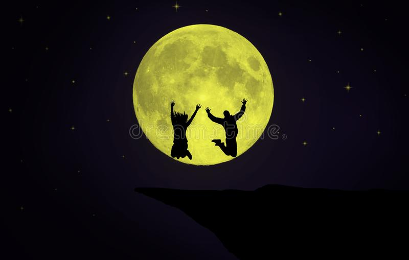 Couple jumping in front of the Moon. Silhouette of a couple jumping in front of giant Moon surrounded by stars royalty free stock images
