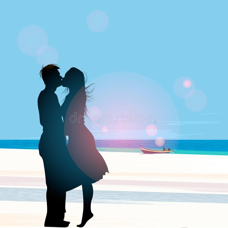 Silhouette of a couple in love kissing against a beach view background, vector illustration. stock illustration