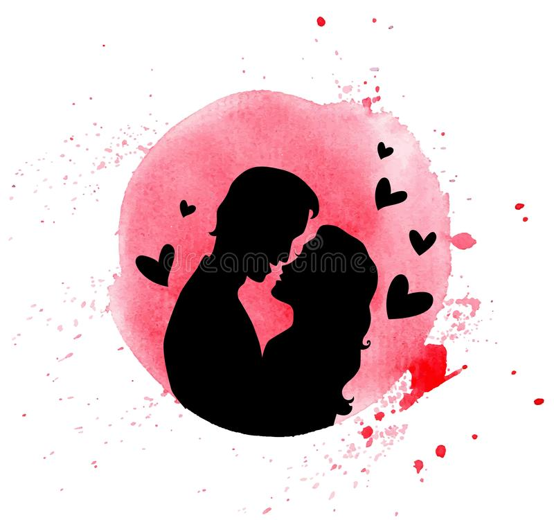 Silhouette of couple in love. Vector Valentine greeting card with red watercolor blob and silhouette of couple in love on a white background stock illustration
