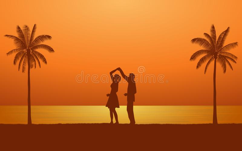 Silhouette couple man and woman holding hand dancing together on beach under sunset sky background. Silhouette couple man and woman holding hand dancing together vector illustration
