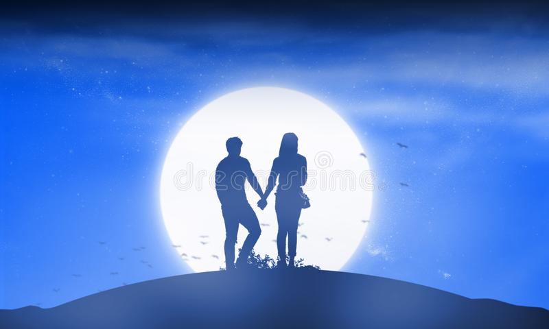Silhouette couple man and woman holding hand together. Under moon shine and stars background royalty free stock images