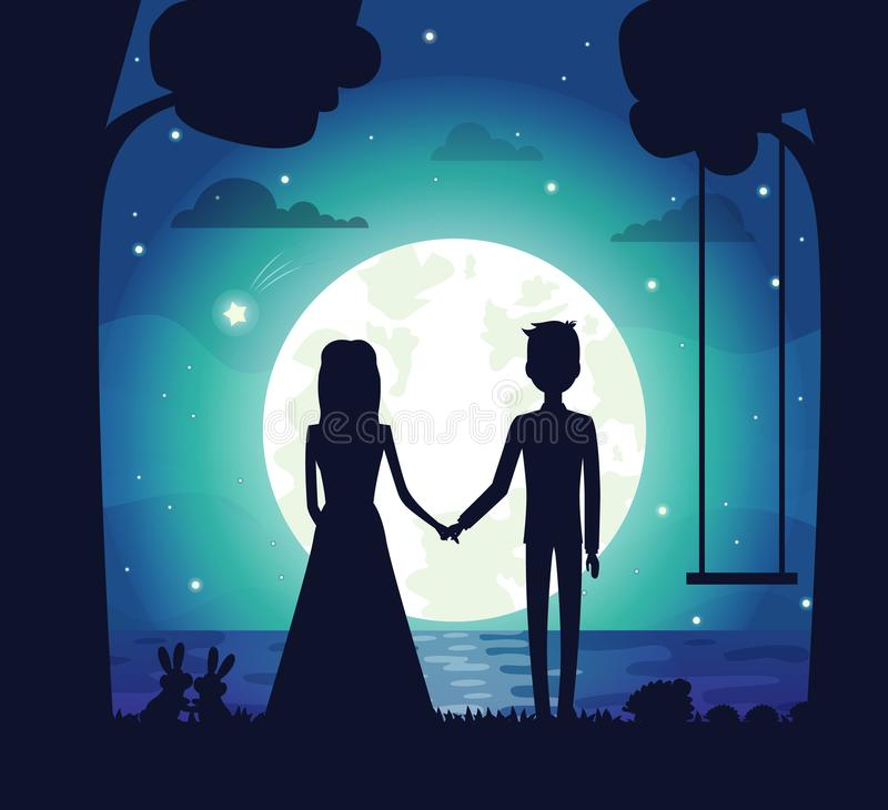 Silhouette of Couple at Night Vector Illustration. Silhouette of couple at night, clouds and stars, bright full moon and river, trees and swing, bunnies and vector illustration