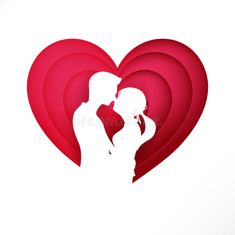 The Silhouette couple on pink heart for valentine and wedding ca. Rd decoration background vector illustration eps 10 stock illustration