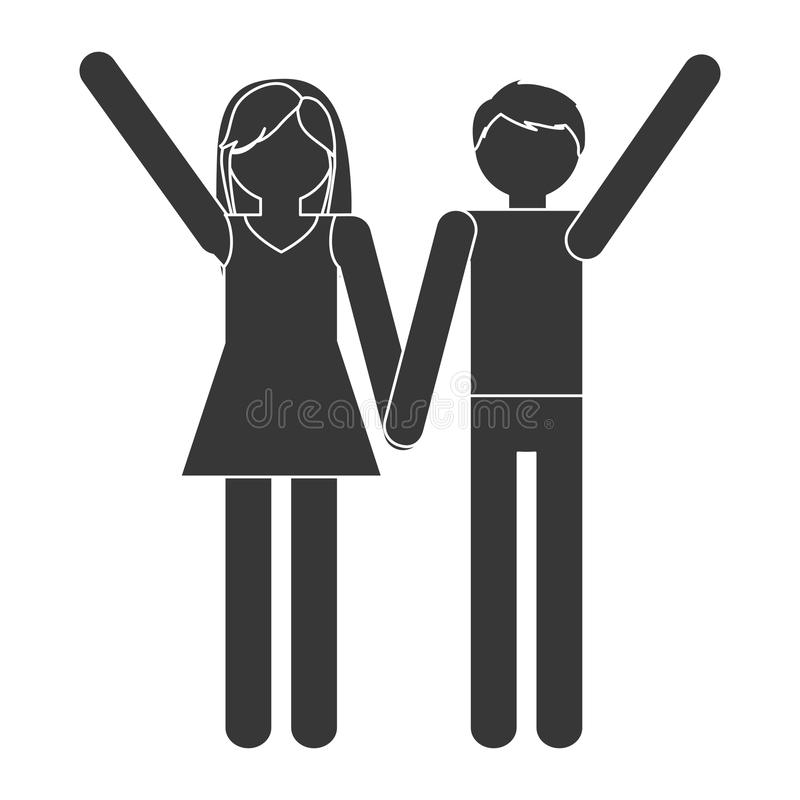 Silhouette couple romantic love relation. Illustration eps 10 stock illustration
