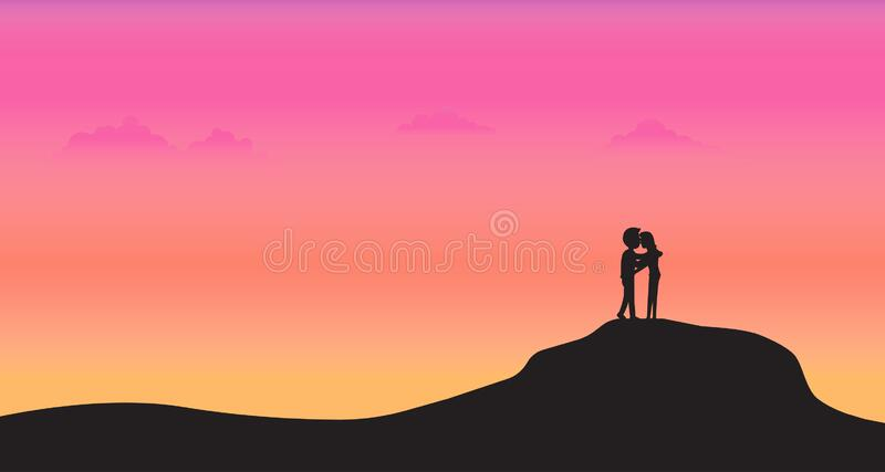 Silhouette couple stand on mountain with sunset background royalty free illustration