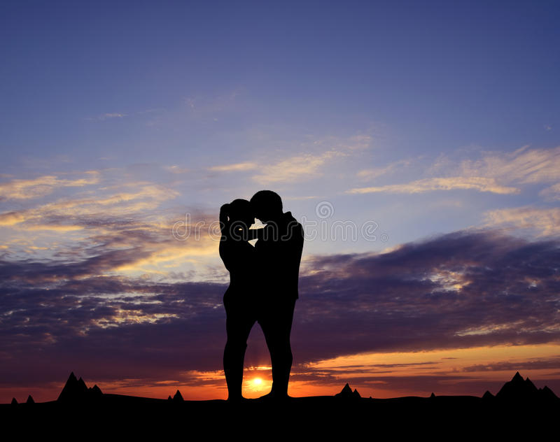 Silhouette of a couple royalty free stock image