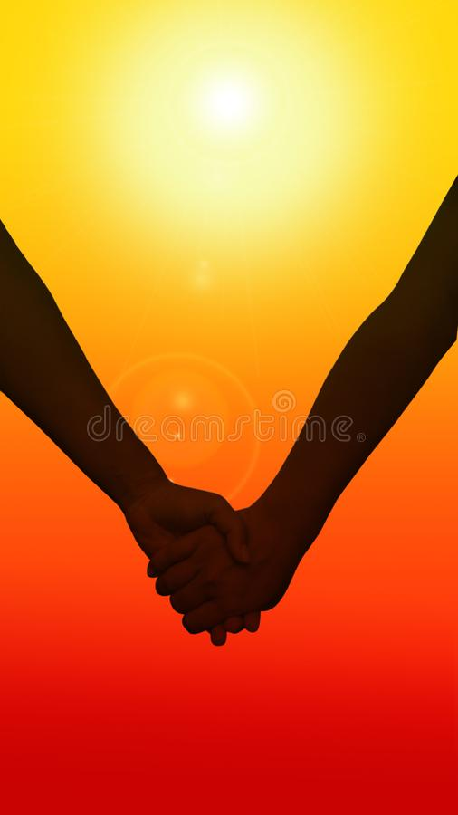Silhouette of couple which are falling in love. They are holding hands and looking at the sunrise. vector illustration