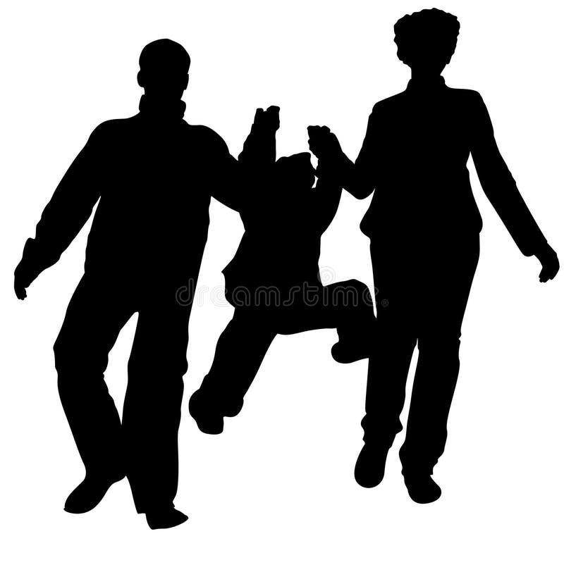 Silhouette courante de famille illustration libre de droits