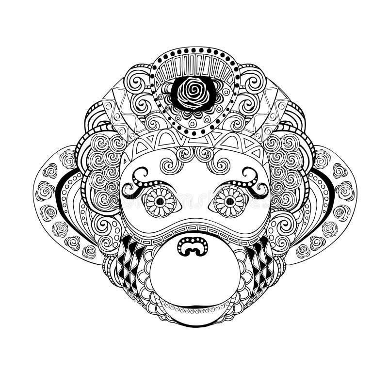 Silhouette courante de griffonnage de tête de singe illustration de vecteur
