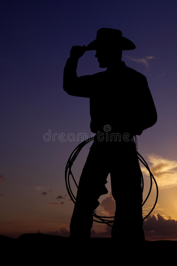 Silhouette cowboy alone royalty free stock photography