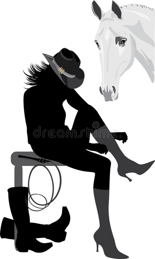 Download Silhouette of cowboy-woman stock vector. Image of heel - 14889771
