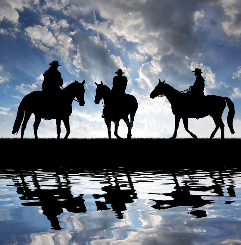 Download Silhouette Cowboys With Horses Stock Photo - Image: 29557748