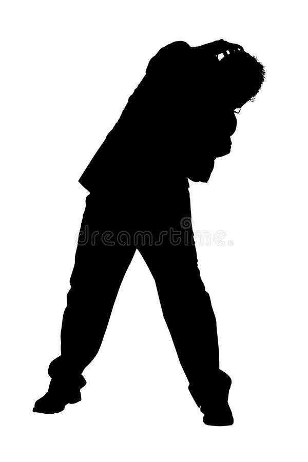 Silhouette of Cowering Business Man vector illustration