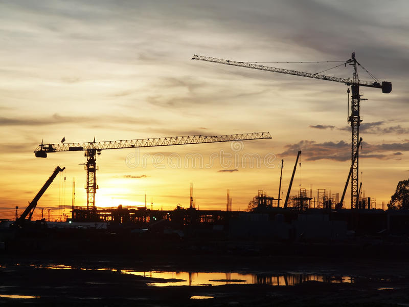 Silhouette Cranes Stock Image