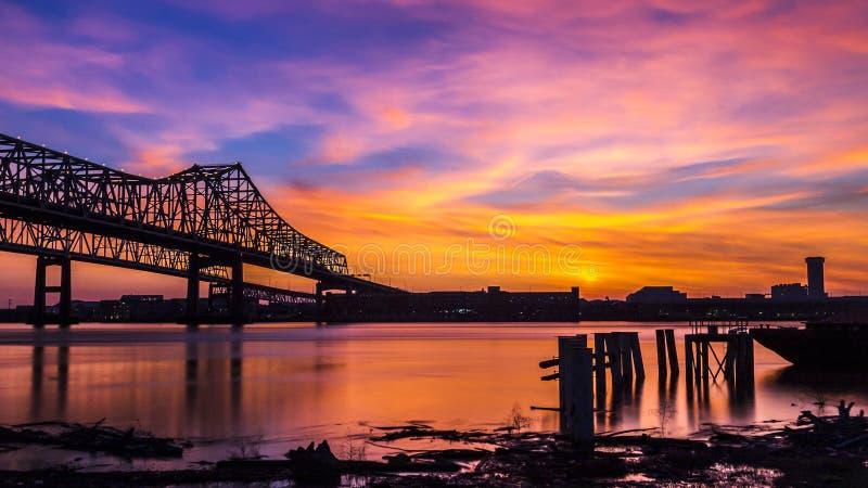 New Orleans Skyline over Mississippi River stock images
