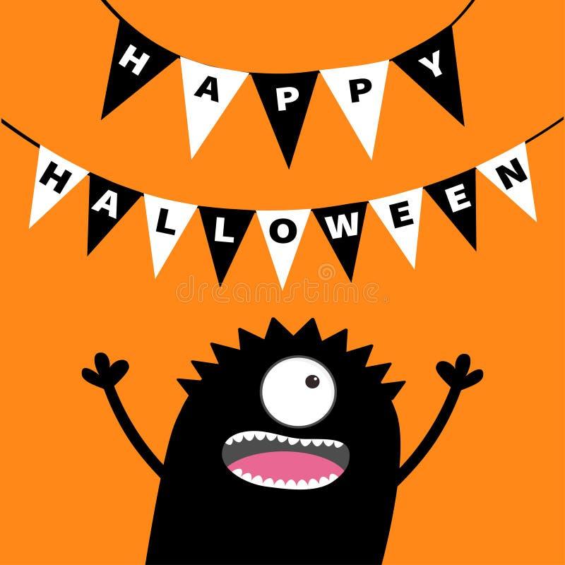 Silhouette criarde de tête de monstre Les drapeaux d'étamine emballent les lettres heureuses de Halloween Guirlande accrochante d illustration de vecteur