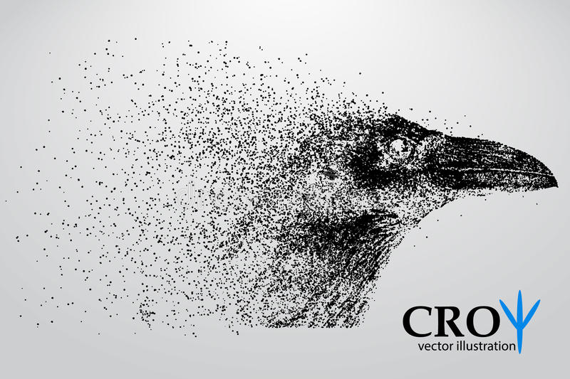 Silhouette of a crow from particles. Background and text on a separate layer, color can be changed in one click vector illustration
