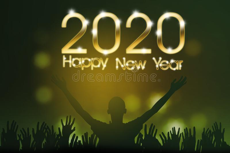Silhouette people with 2020 Happy New Year text royalty free stock image