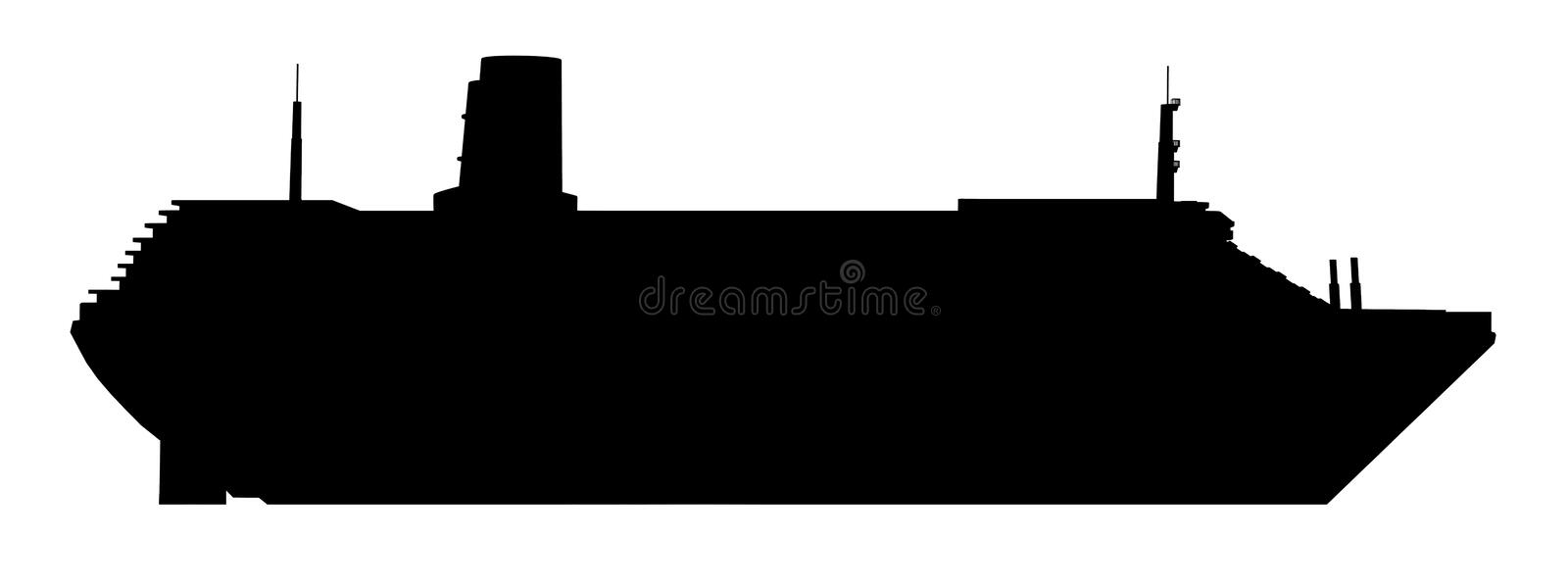 Silhouette of a cruise ship. Computer generated 2D illustration with the silhouette of a cruise ship royalty free illustration