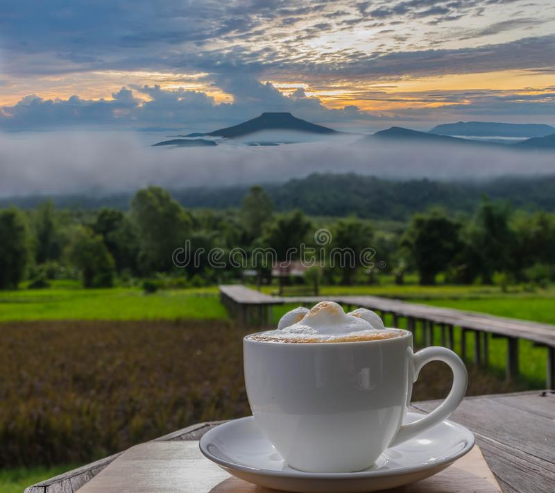 Silhouette cup of latte coffee with viewpoint at the mountain in the Phu Pa por Fuji at Loei, Loei province, Thailand fuji mounta. Abstract silhouette cup of stock photo