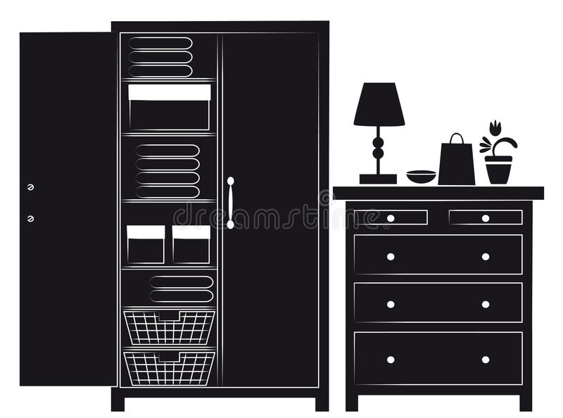 Download Silhouette Of Cupboard And Chest Of Drawers Stock Illustration - Image: 25384564