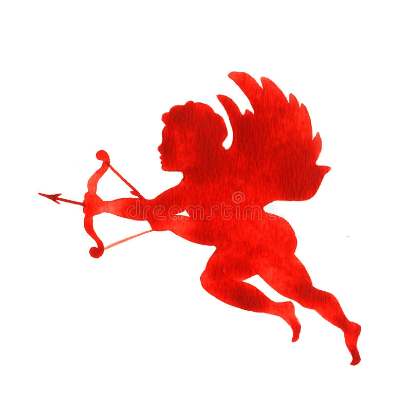 Silhouette of cupid royalty free stock images