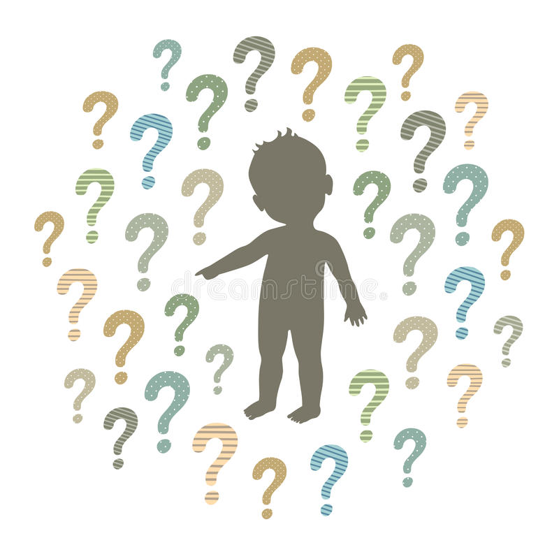 Silhouette of a curious child pointing at something and question marks around. Vector silhouette of a curious child pointing at something and question marks vector illustration
