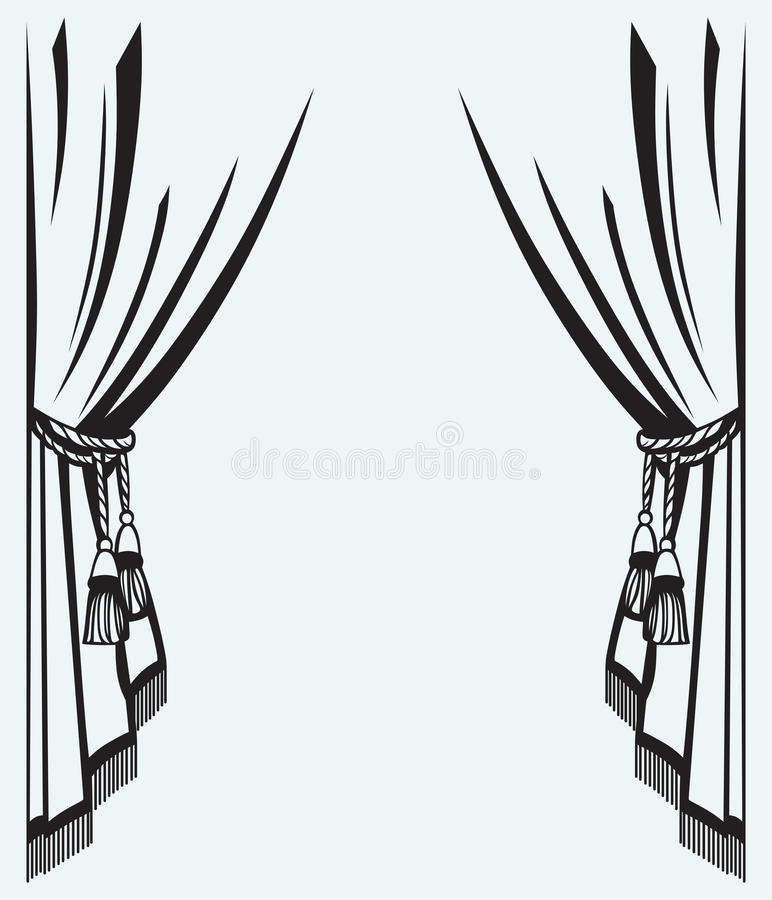 Silhouette Curtain Stock Vector. Image Of Empty