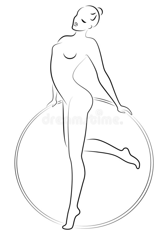Silhouette of a cute lady. Girl gymnast involved in sports. Twists the hoop. The woman is young and slim, with a beautiful figure royalty free illustration