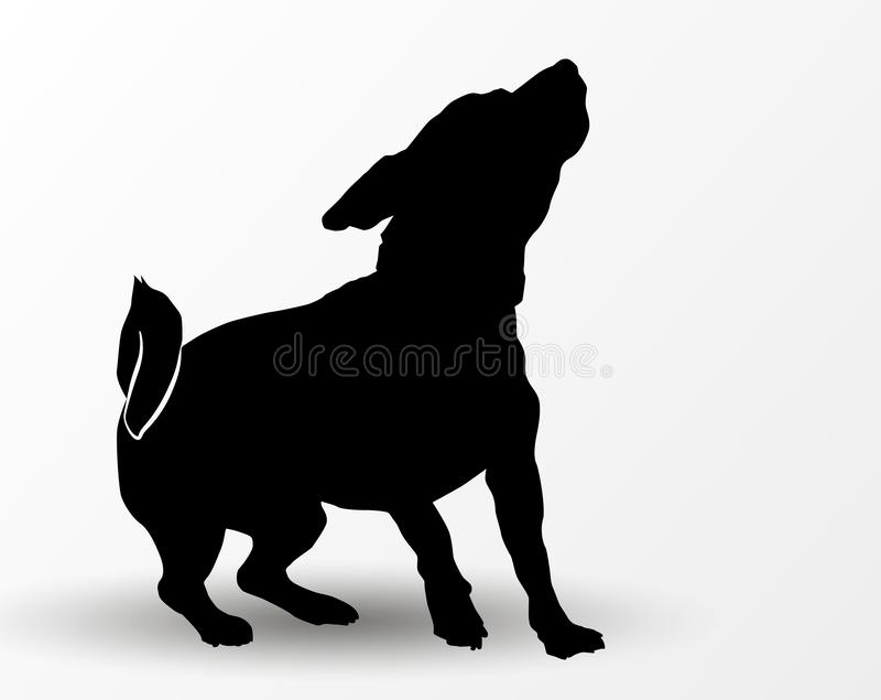 Silhouette of cute playing dog jack russell terrier jumping and looking up. Curious pet. Vector illustration stock illustration