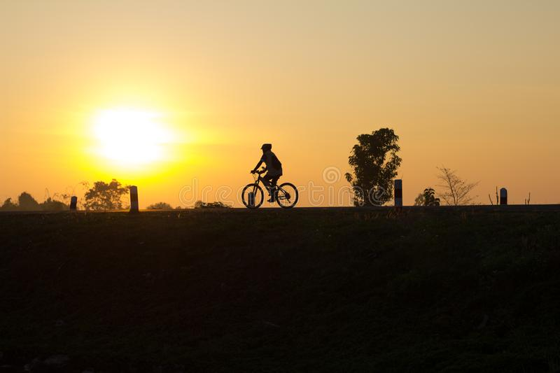 Silhouette cycling. stock photo
