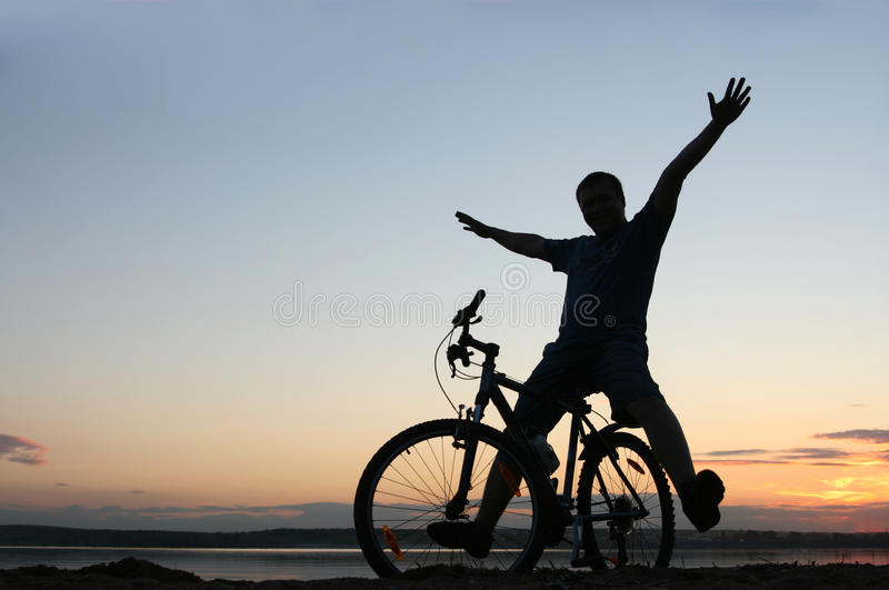 Download Silhouette Of A Cyclist At Sunset Stock Image - Image: 24098031