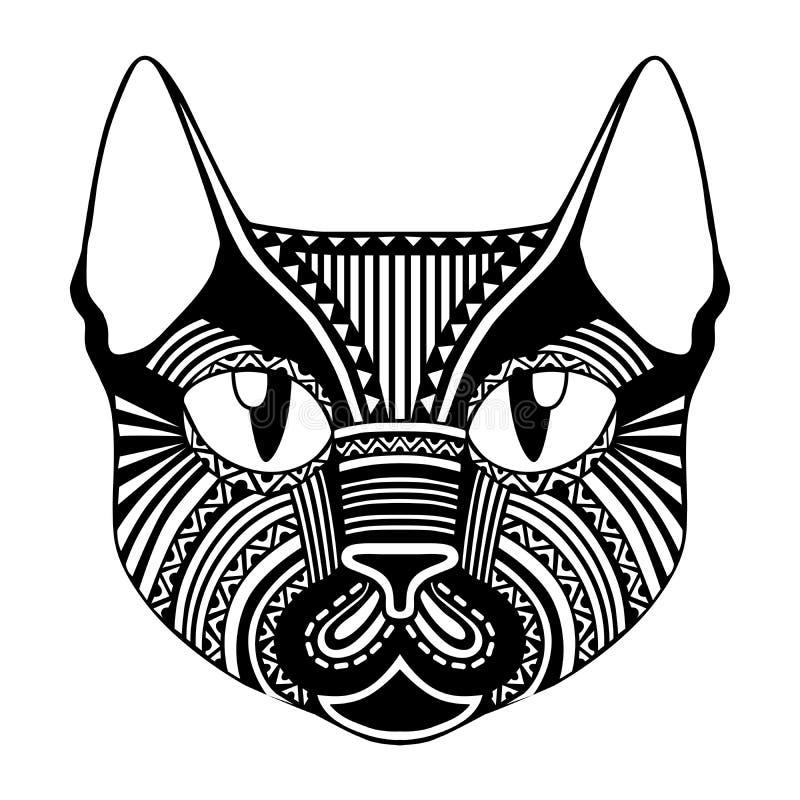 Silhouette décorative fleurie modelée ethnique de chat de visage image libre de droits